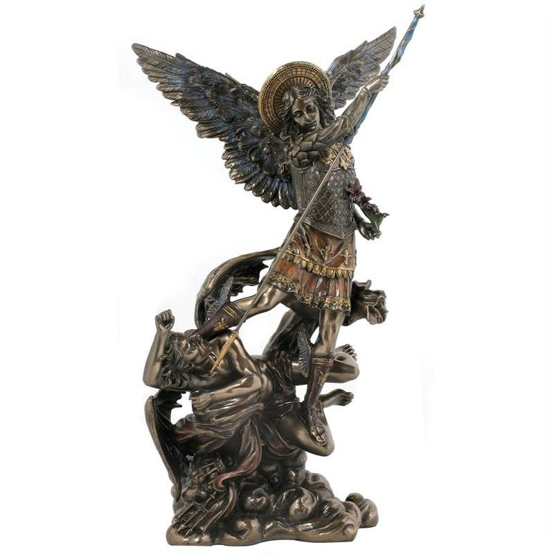 Veronese Cold Cast Bronze Coated Angel Figurine, Archangel St Michael Stepping on Demon