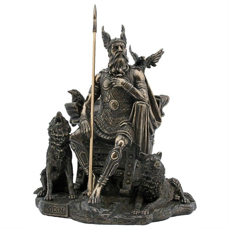 Cast Bronze Norse Mythology Figurine, Odin