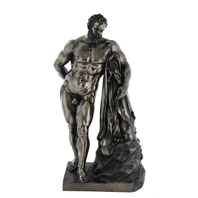 Veronese Cold Cast Bronze Coated Statue of The Farnese Hercules by Glykon of Athens, Large