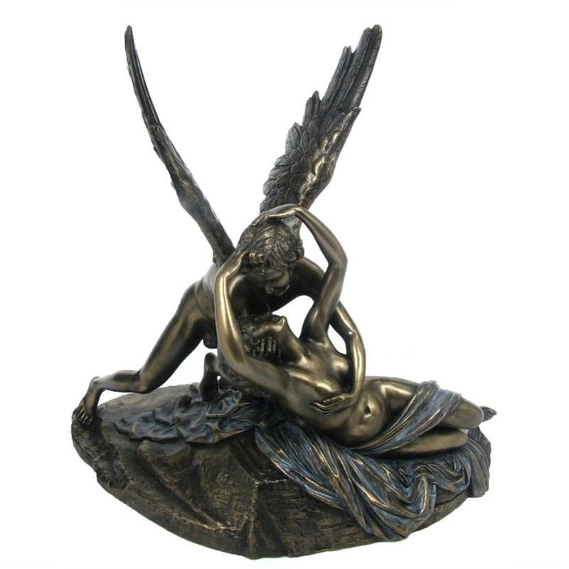 Cast Bronze Figurine of Antonio Canova's Psyche Revived by Cupid's Kiss