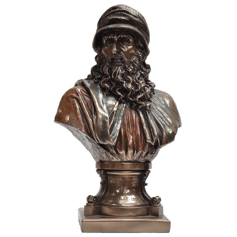 Cast Bronze Bust Sculpture, Leonardo Da Vinci