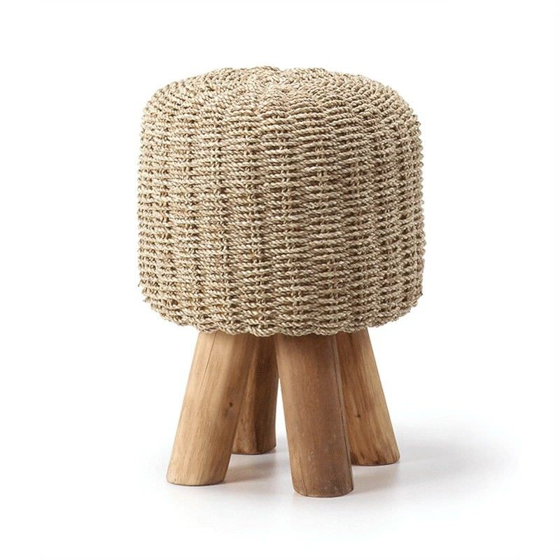 Camlet Solid Teak Timber Ottoman Stool with Woven Seagrass Seat