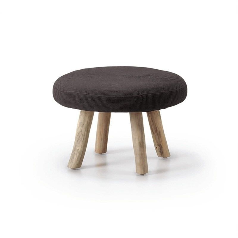 Friars Solid Teak Timber Round Ottoman with Fabric Seat - Black