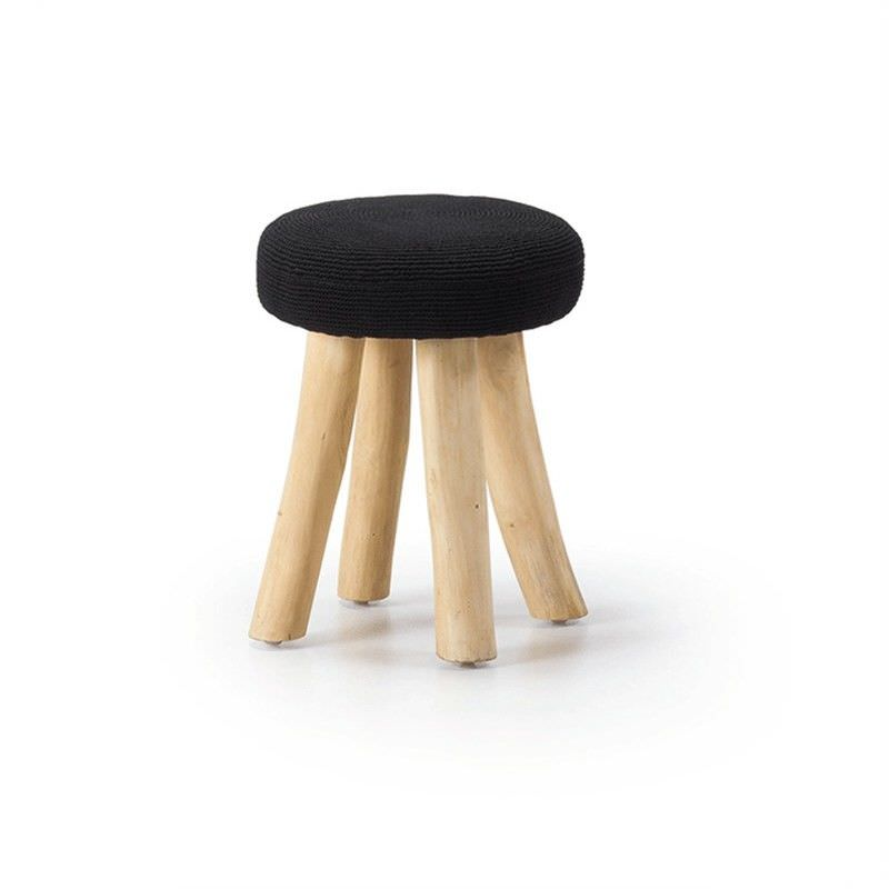Warren Solid Teak Timber Stool with Fabric Seat, Black