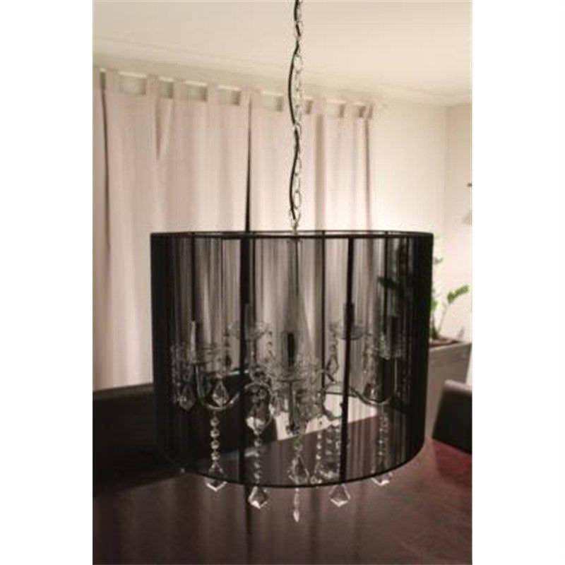 Crystal Chandelier Ceiling Lamp Black Retro