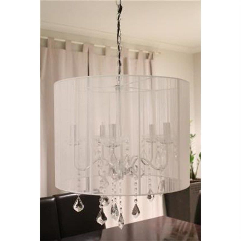 Crystal Chandelier Ceiling Lamp White Retro