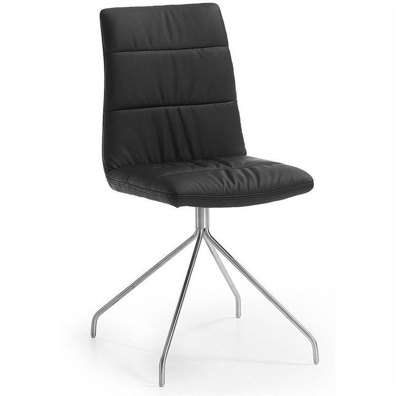 Lyme PU Leather Dining Chair, Trestle Leg, Black