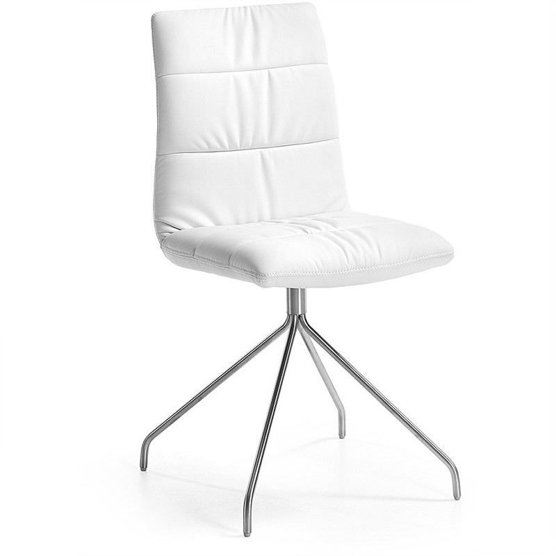 Lyme PU Leather Dining Chair, Trestle Leg, White