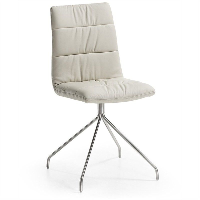 Lyme PU Leather Dining Chair, Trestle Leg, Pearl