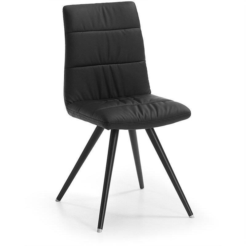 Lyme PU Leather Dining Chair, Steel Leg, Black