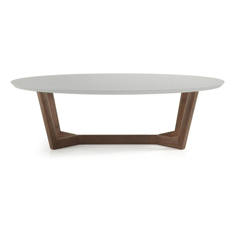 Amias 120cm Oval Coffee Table - Grey/Walnut
