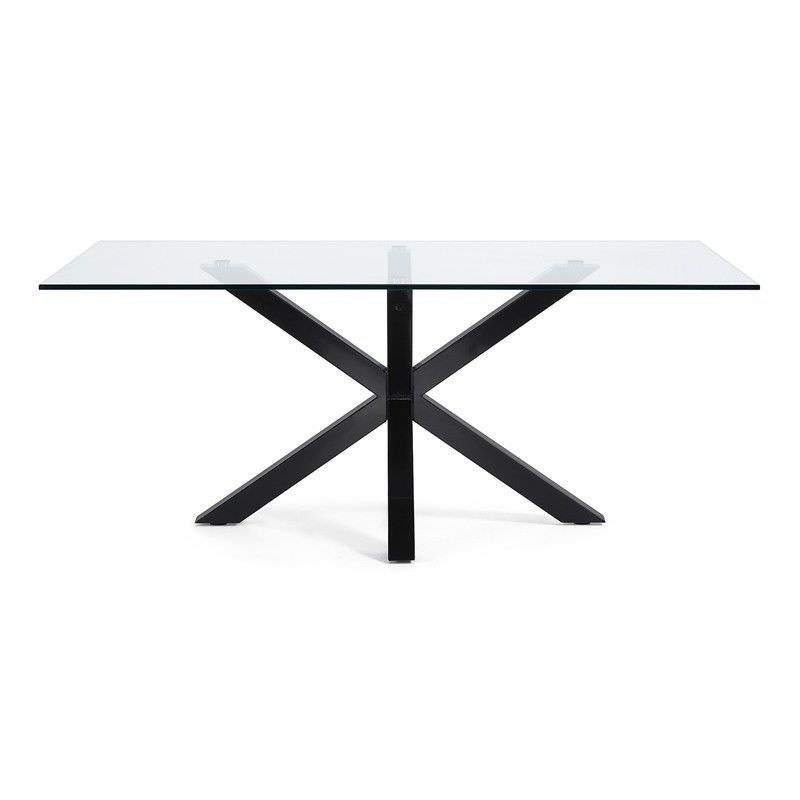 Bromley Tempered Glass & Epoxy Dining Table, 180cm, Clear/Black