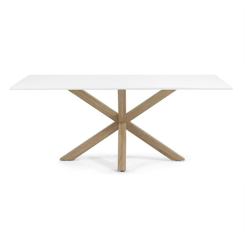 Bromley Engineered Wood & Steel Dining Table, 180cm, White / Natural