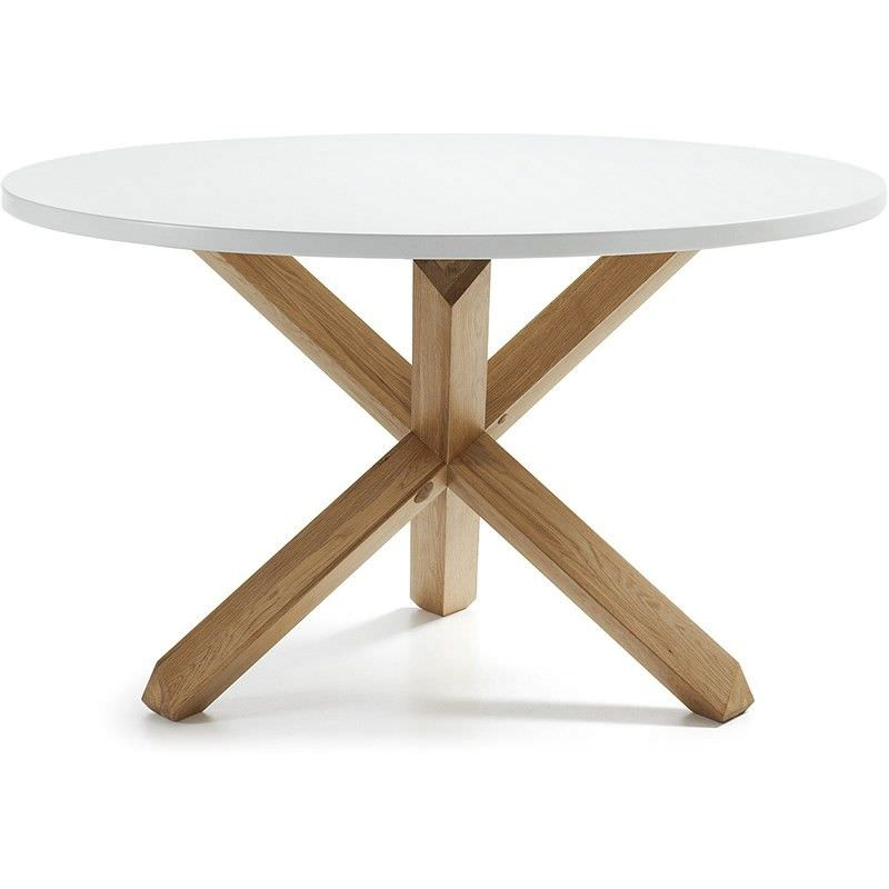 Tompion 120cm Round Dining Table - White/Natural