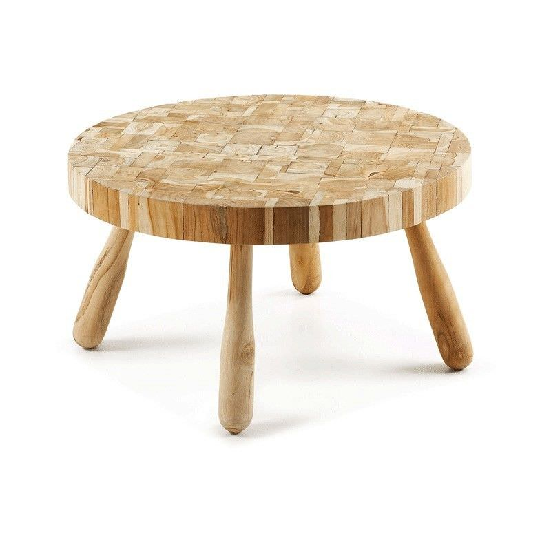 Brixton Recycled Teak Timber Round Coffee Table, ⌀72cm