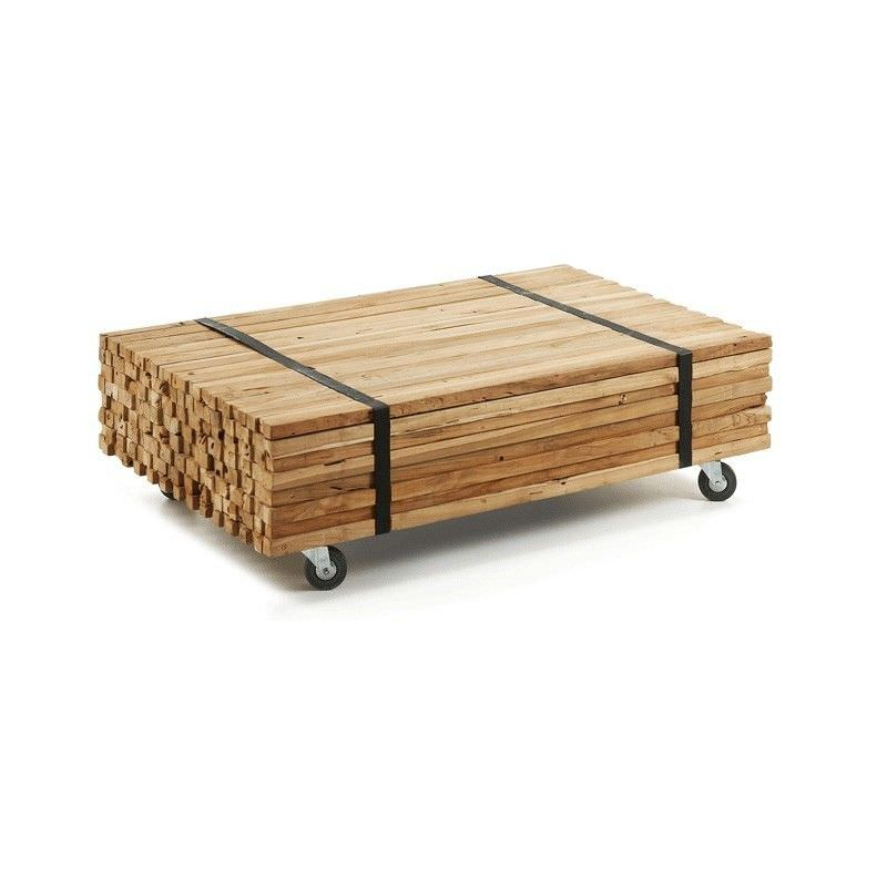 Olney Solid Teak Timber 110cm Coffee Table with Castors