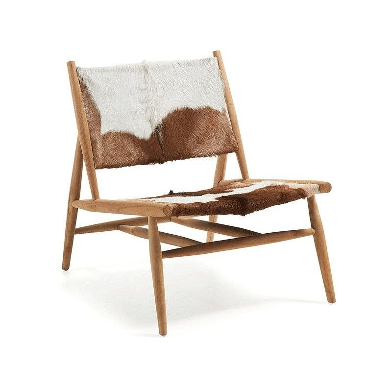 Othello Goat Hide and Teak Timber Chair