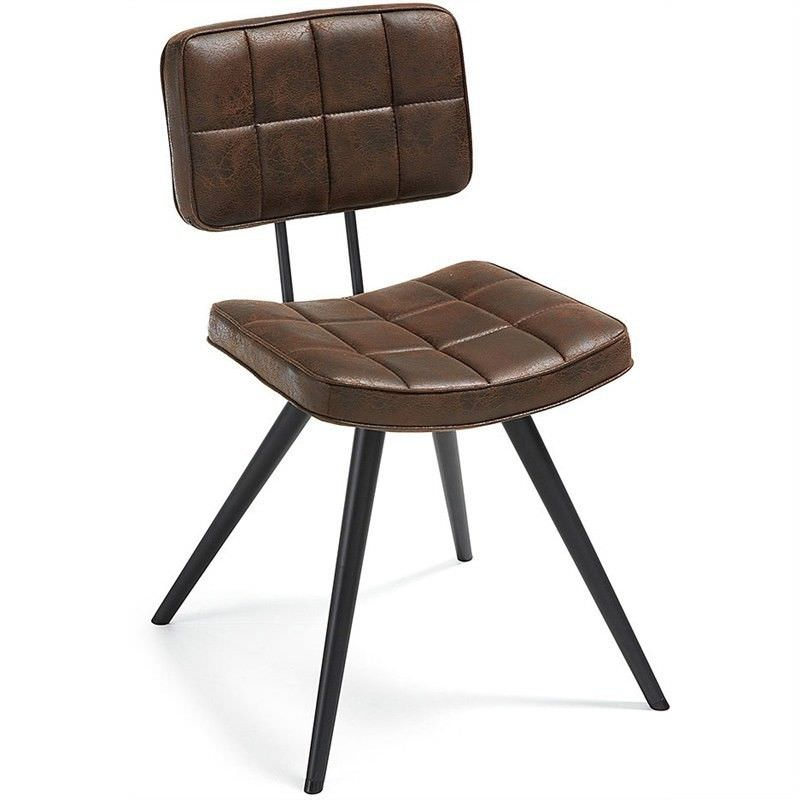 Rosina PU Leather Side Chair, Brown / Black