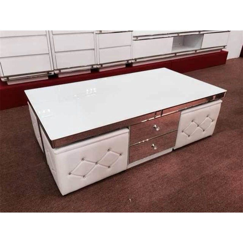 Corcoran PU Leather & Glass 130cm Coffee Table with 4 Seats - White