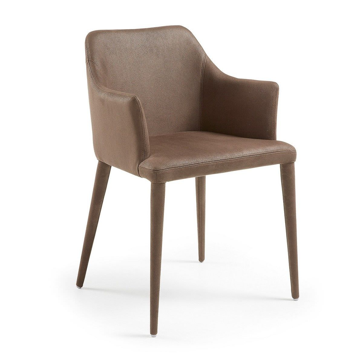 Danya Nubuck Fabric Dining Armchair, Brown