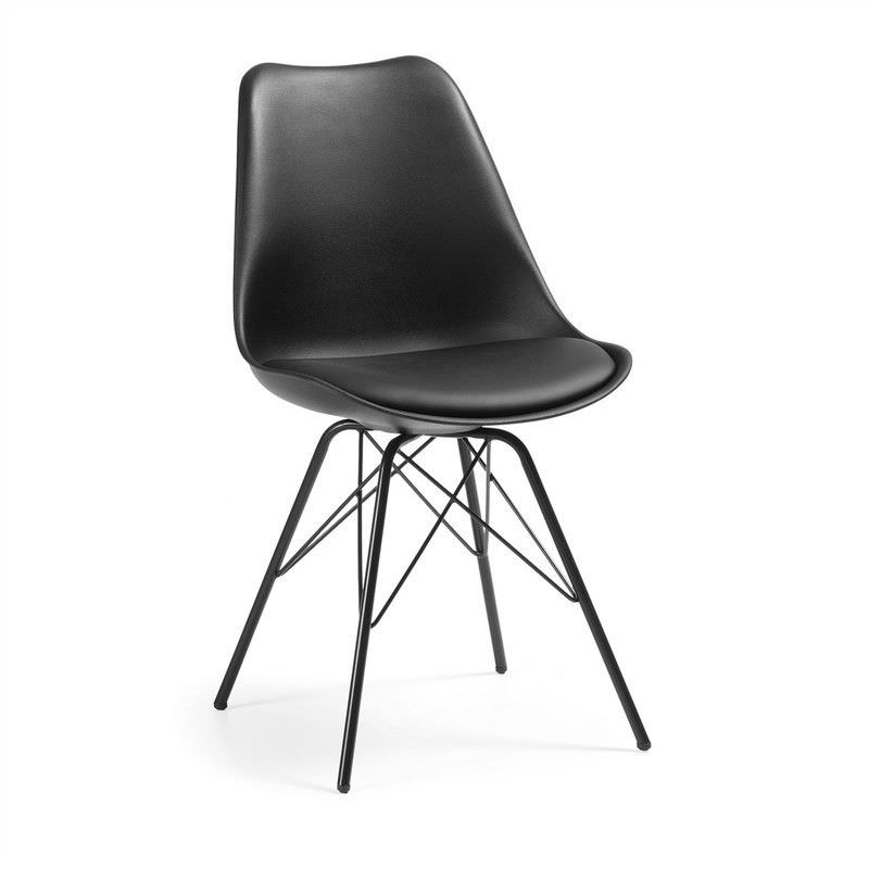 Lakota PU Leather Dining Chair, Steel Leg, Black