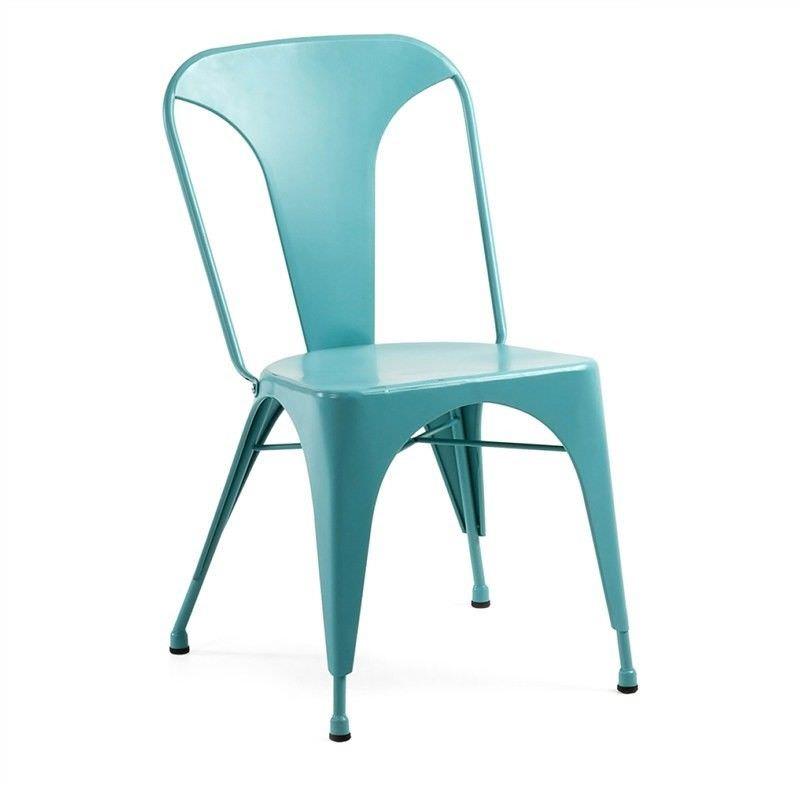 Frazier Steel Indoor/Outdoor Dinning Chair, Turquoise