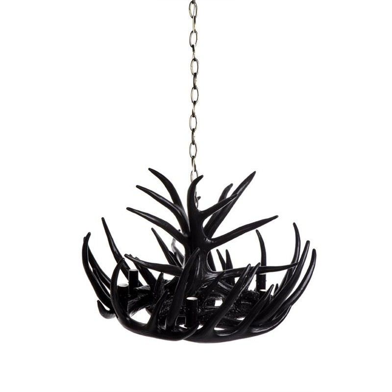 Antler 6 Arm Chandelier - Black