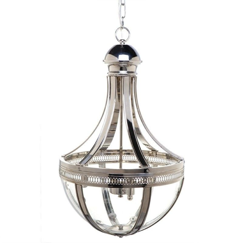 Empire Hand Crafted Iron and Glass Pendant Light - Nickel