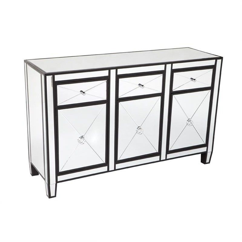 Apolo Mirrored 3 Door 3 Drawer Sideboard, 130cm, Back