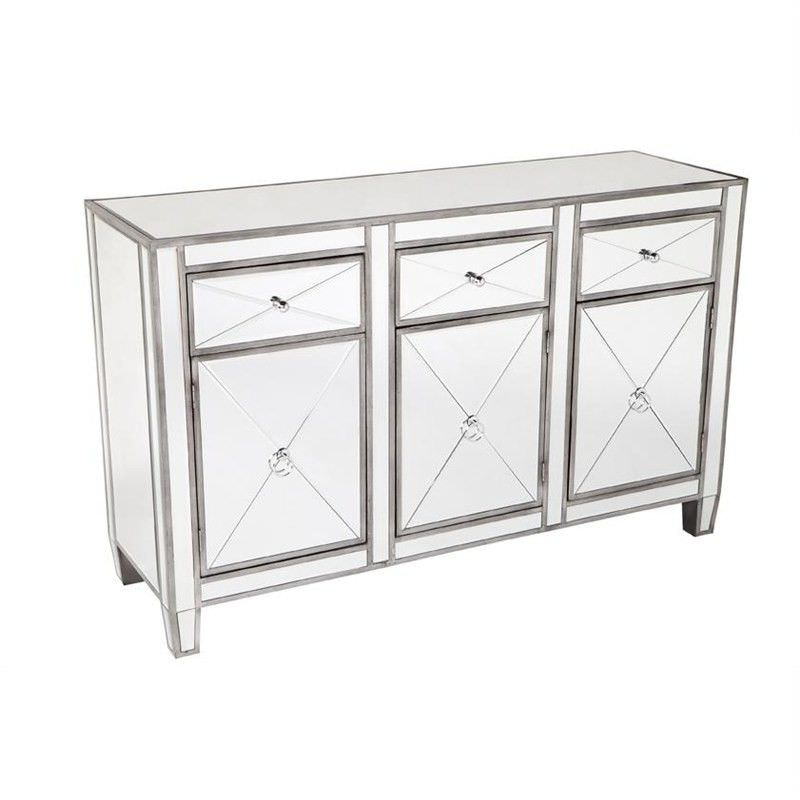 Apolo Mirrored Glass 3 Door 3 Drawer 130cm Sideboard - Antique Silver