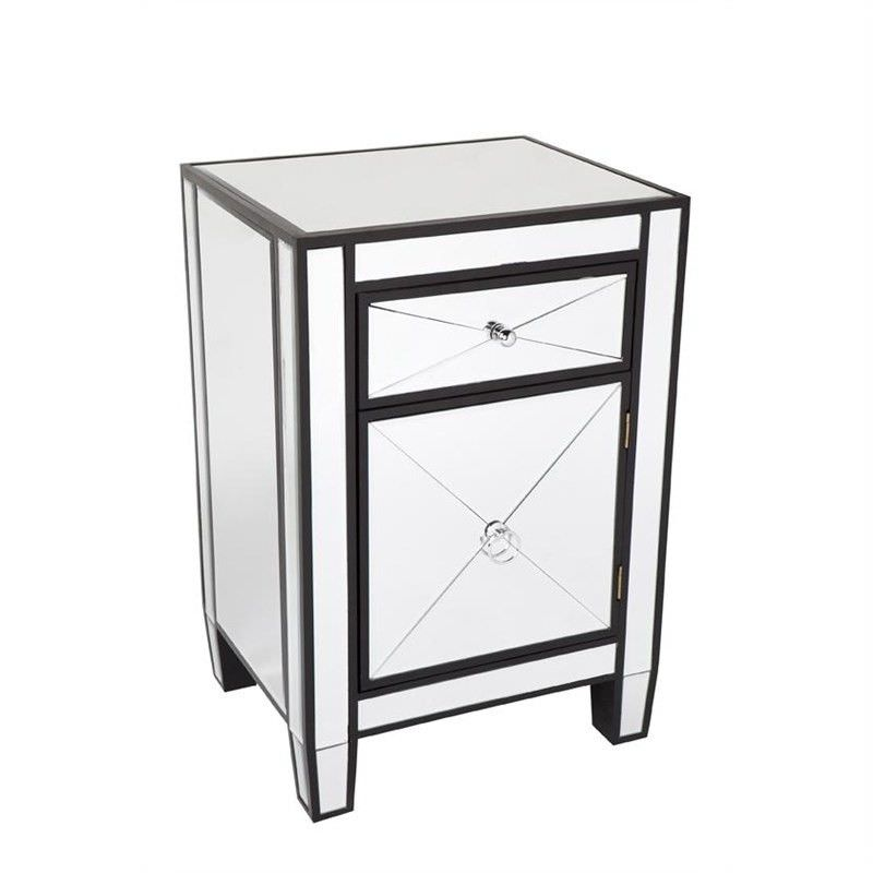 Apolo Mirrored Bedside Table, Black