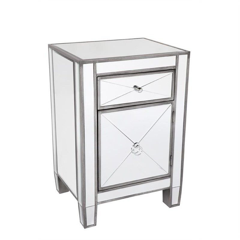 Apolo Mirrored Bedside Table, Antique Silver