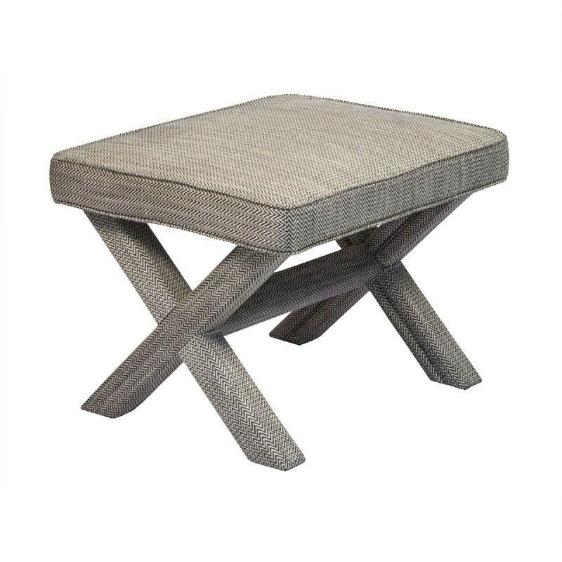 Caesar Fabric Upholstered Cross Leg Ottoman Stool, Black/White