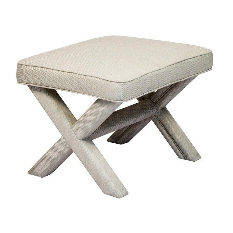 Caesar Fabric Cross Leg Footstool, Beige Herringbone