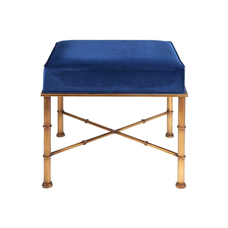 Clara Velvet Fabric & Metal Footstool, Royal Blue
