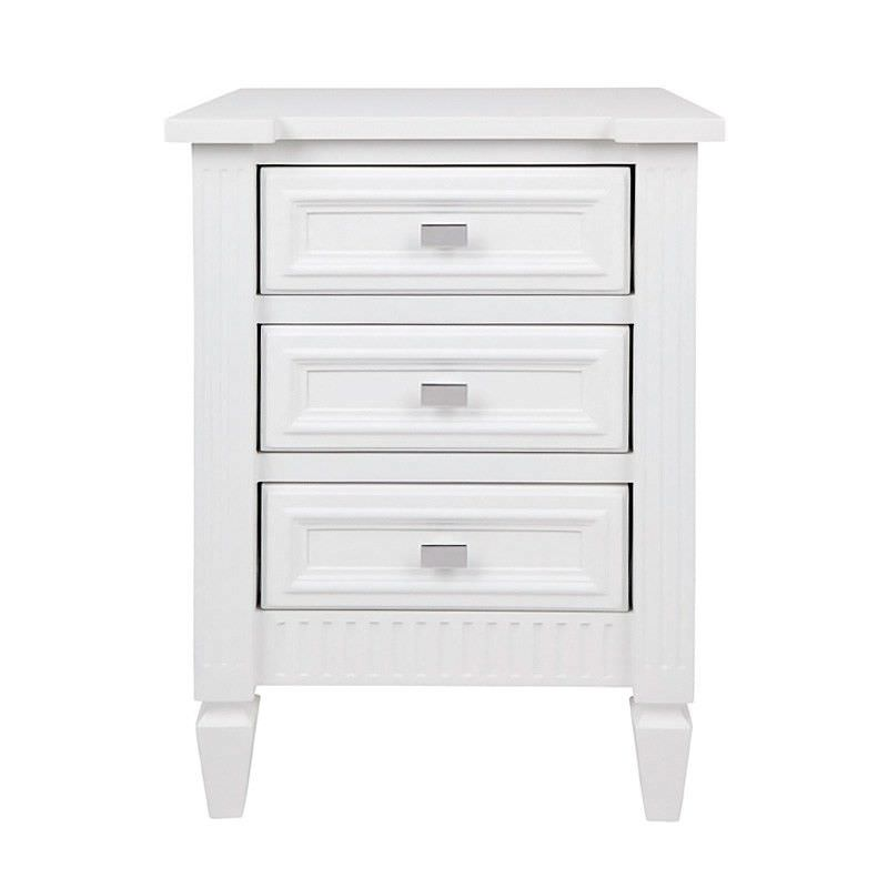 Merci 3 Drawer Bedside Table, Satin White