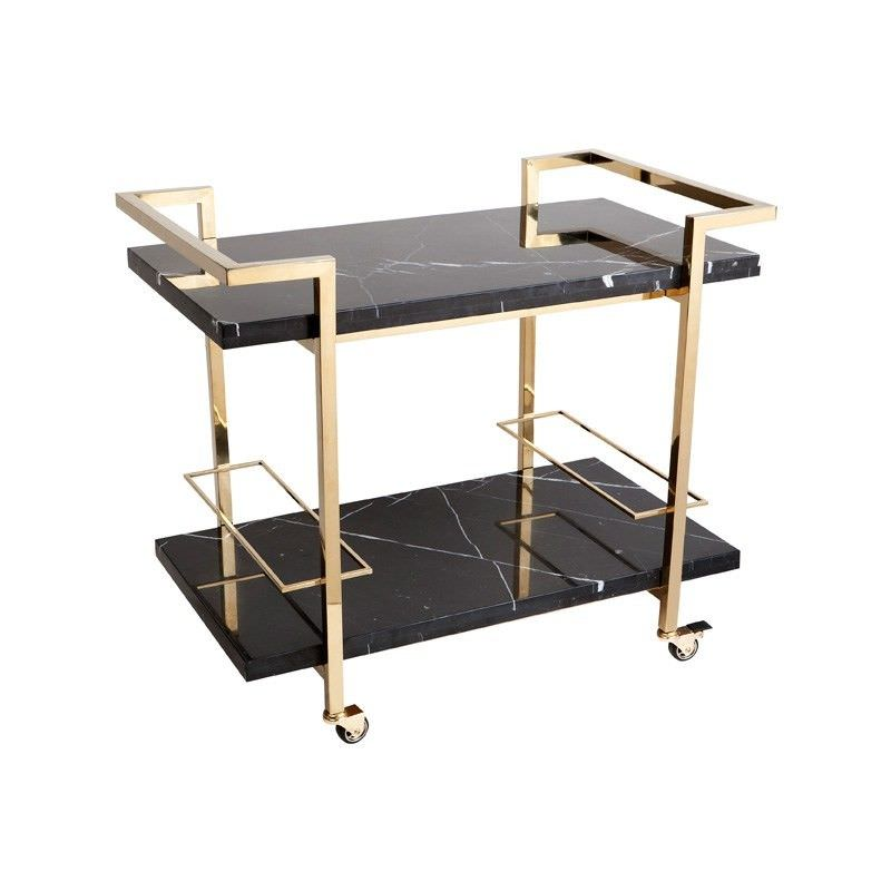 Franklin Marble & Stainless Steel Drinks Trolley, Gold / Black
