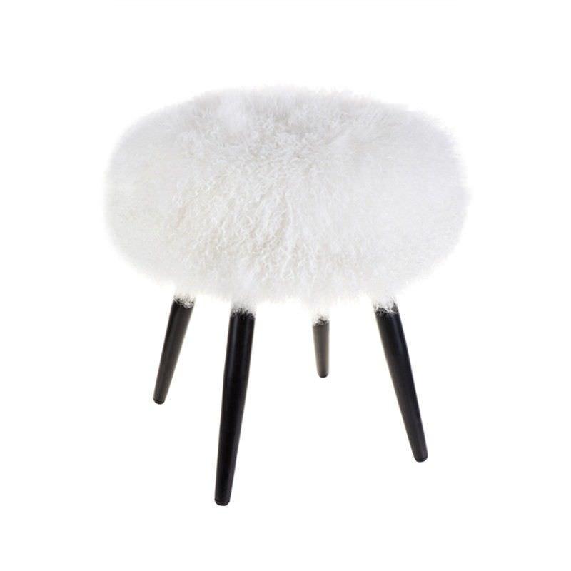 Dixie Mongolian Lamb Plush Round Ottoman Stool, White