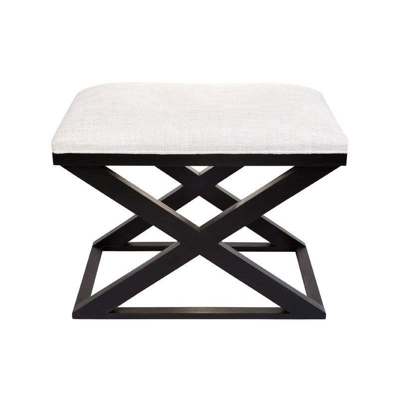 Spencer Linen Upholstered Timber Cross Leg Ottoman Stool, Black