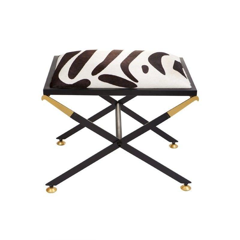Zanzibar Cow Hide & Steel Cross Leg Footstool, Zebra
