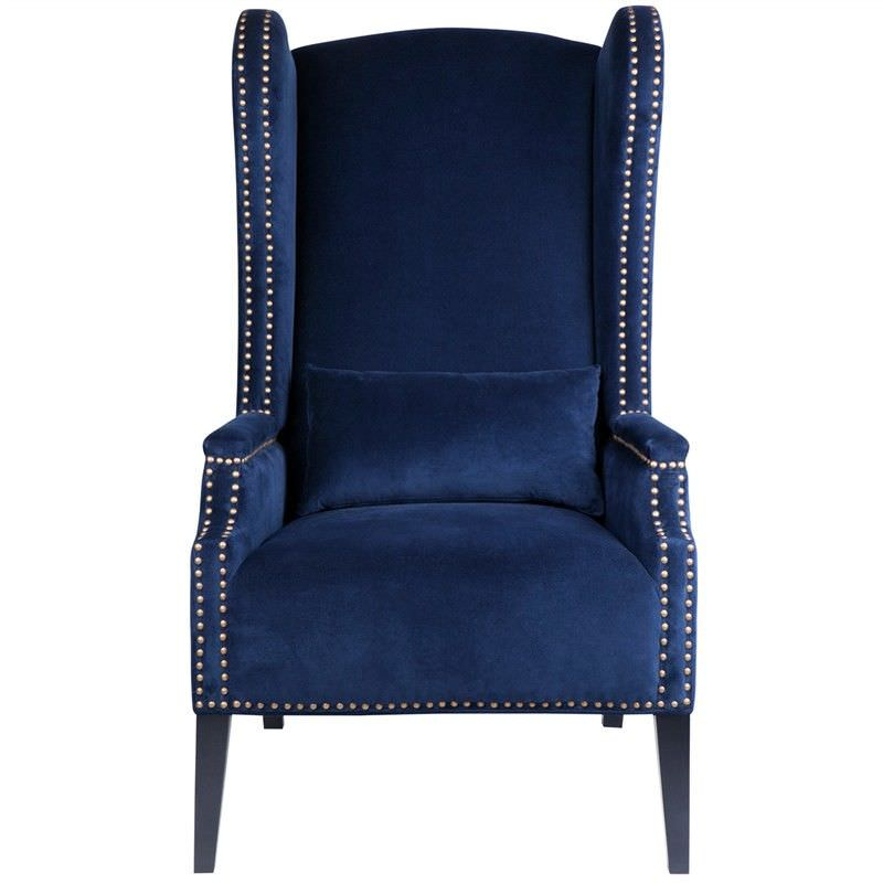 Stefan Fabric Upholstered Armchair Navy