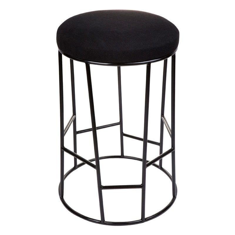Aiden Linen Upholstered Steel Round Stool, Black