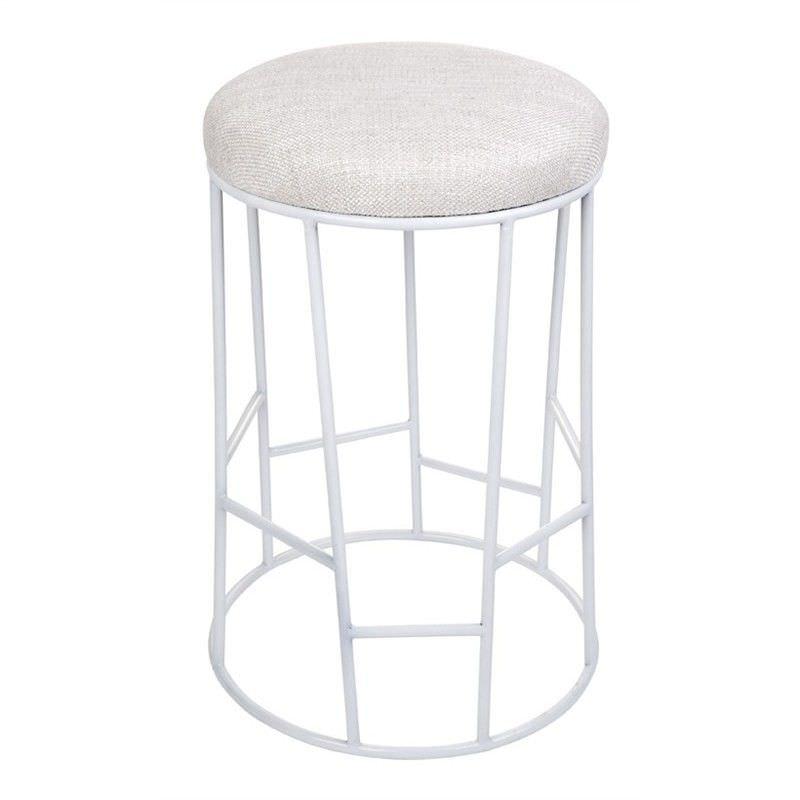Aiden Linen Upholstered Steel Round Stool, White