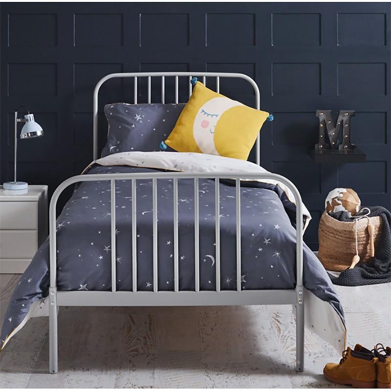Calais Metal Bed, King Single, Grey