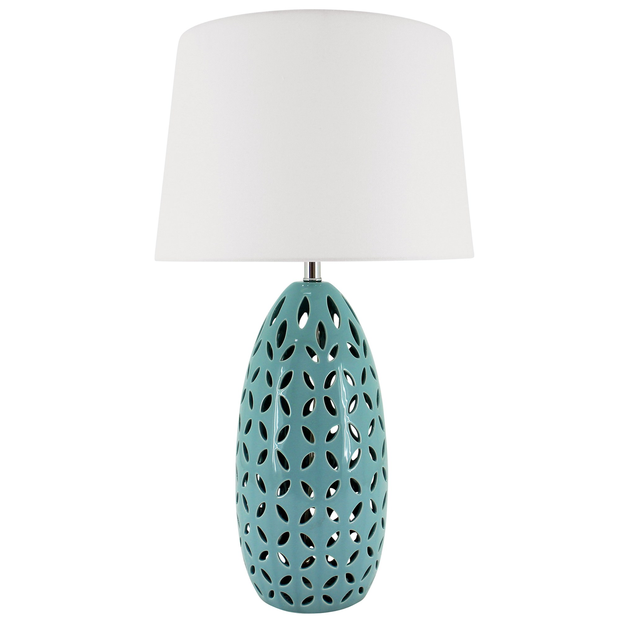 Kiran Ceramic Base Table Lamp, Teal
