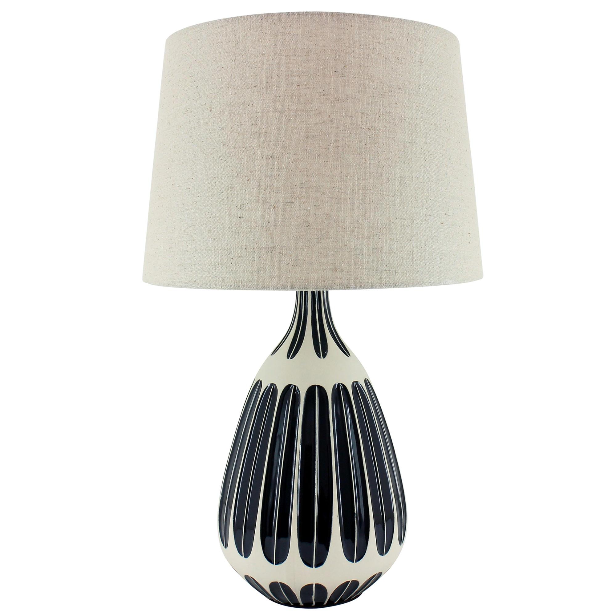 Zia Ceramic Base Table Lamp, Navy