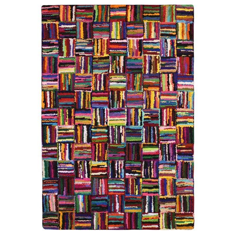 Chinidi Carnivale Cross Wave Hand Tufted Cotton Rag Rug, 250x350cm