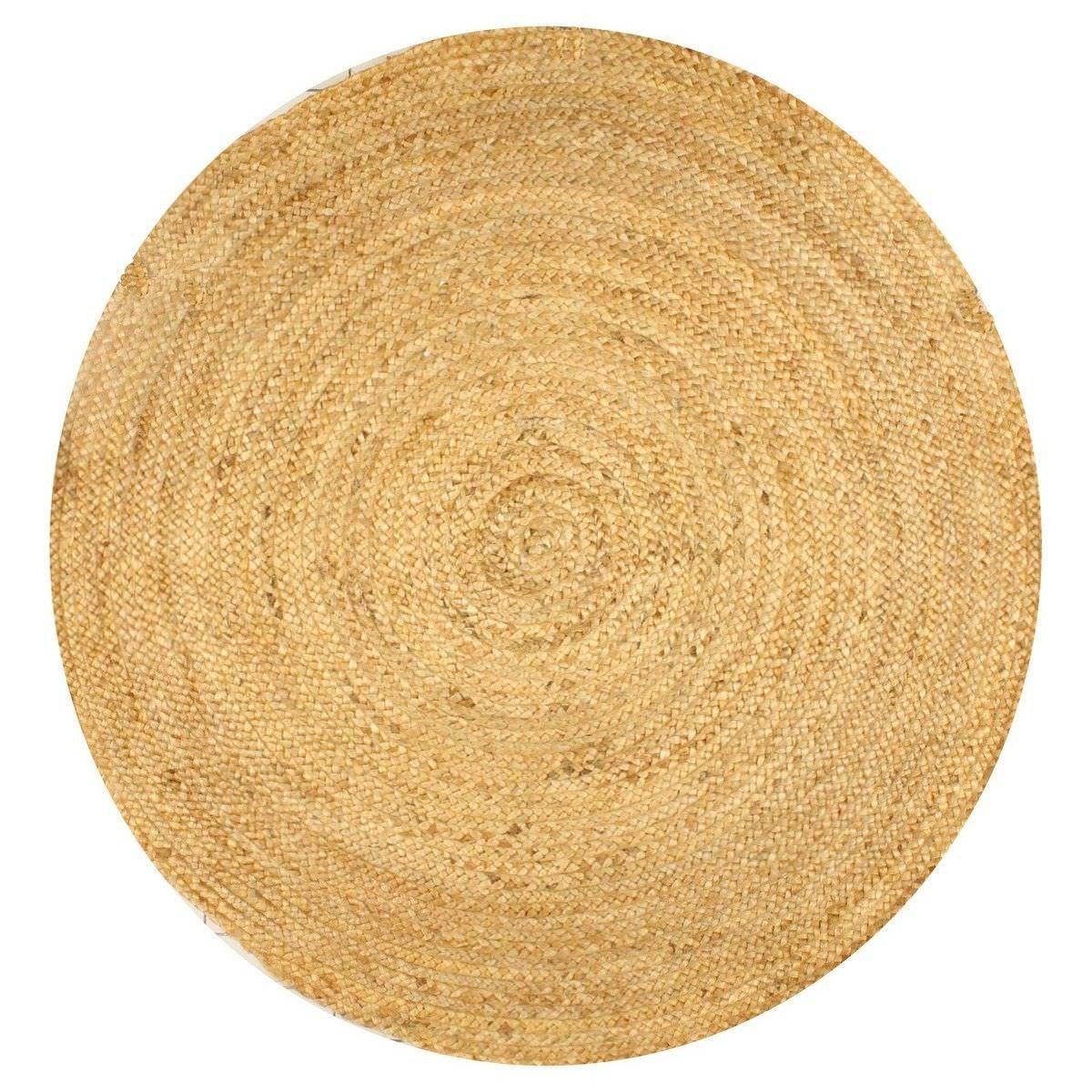 Caroline Plain Round Jute Rug, 90cm