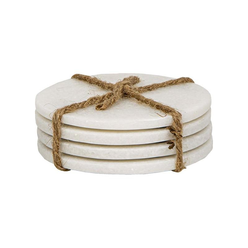Glandord 4 Piece Marble Coaster Set, Round, White