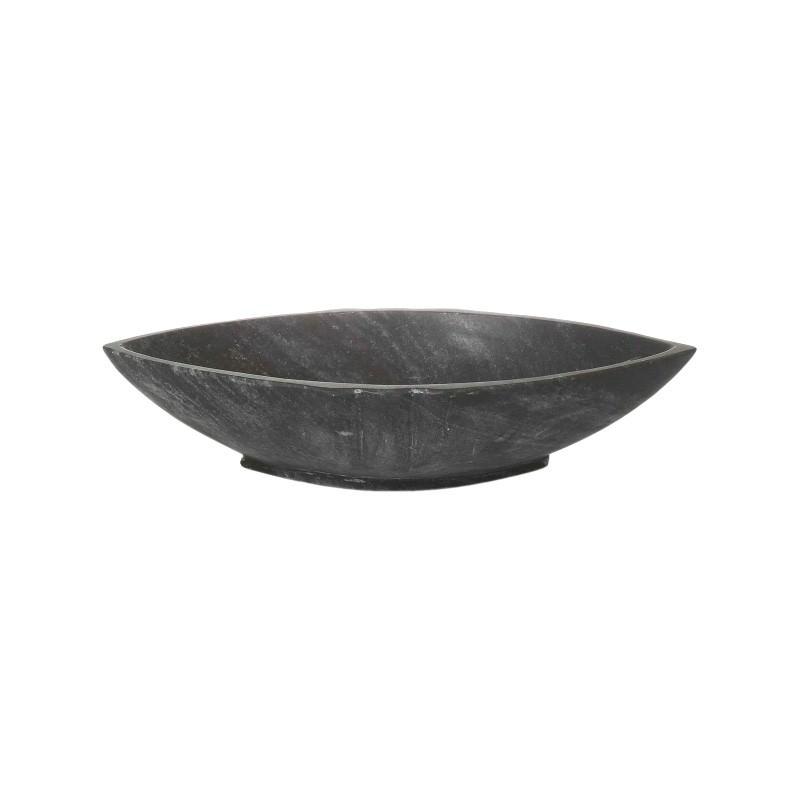 Wolferton Marble Boat Dish, Medium, Black